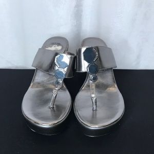 BCBGeneration grey/silver wedge thong sandals